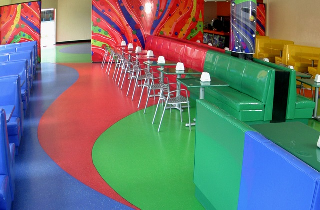 stonres rtz flooring in children's park cafe public space